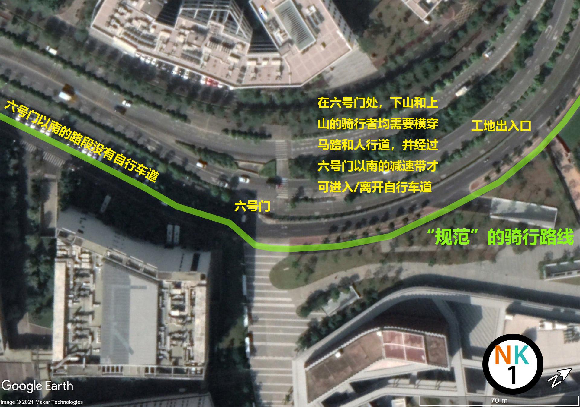 图3 大学路的上的自行车道分布