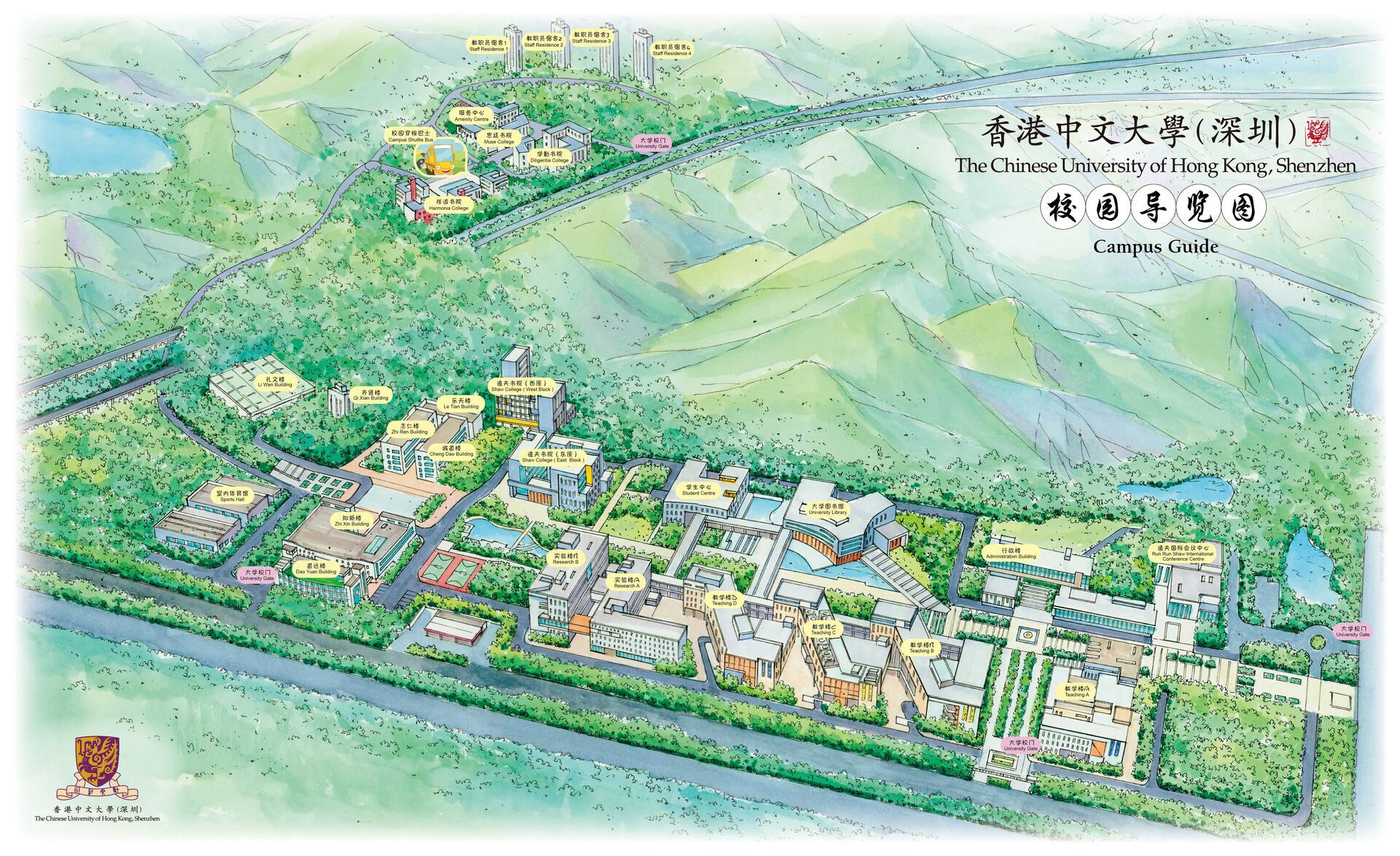 香港中文大学(深圳)的地图,公共教学楼在中下方